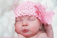 #PiagetRose Pink Baby Hat - Newborn Baby Beanie Hat - Pink Infant Hat - Pink Hat With Pink Flower Clip - Photo Prop