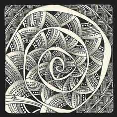 zentangle spiral mandala by Margaret Bremner, Certified Zentangle Teacher