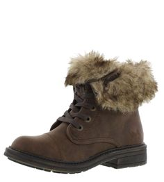 02109c36bda Blowfish Farina SHR Coffee Brown Faux Fur Lace Up Ankle Boots