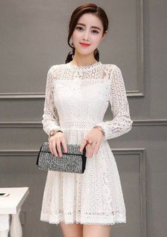 Pattern Lace Mesh Fit & Flare Dress