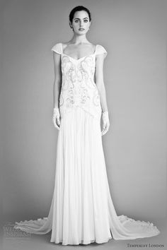 reminds me of the 1920s or '30s...temperley london bridal fall 2012 juniper wedding dress cap sleeves