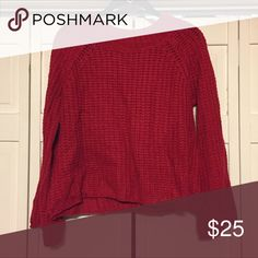 RED KNIT SWEATER RED KNIT SWEATER. SIZE S/M. NEVER WORN. Sweaters Crew & Scoop Necks