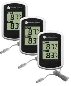 Ambient Weather WS02 Compact IndoorOutdoor Thermometer with Probe 3Pack *** Learn more by visiting the image link.