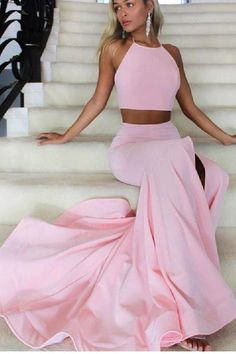 Prom Dresses 2019, Two Pieces Prom Dresses, Mermaid Evening Dress, Evening Dress Pink #MermaidEveningDress #PromDresses2019 #TwoPiecesPromDresses #EveningDressPink