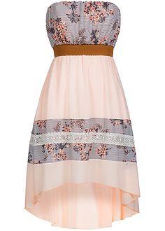 Hailys Damen Bandeau Kleid Vokuhila Blumen Muster Häkeleinsatz rosa Hailys Kleider | 77onlineshop im Online Shop preiswert kaufen