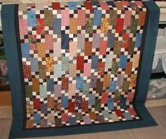 Quiltville's Quips & Snips!!: Bricks & Stepping Stones!--free pattern that would be good for a boy--use blues, browns