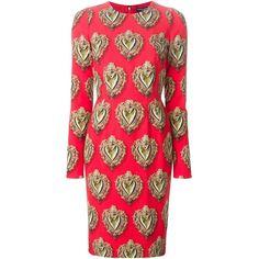 Dolce & Gabbana Sacred Heart Print Dress (20 190 ZAR) ❤ liked on Polyvore featuring dresses, red, zipper back dress, dolce gabbana dresses, red shift dress, round neck long sleeve dress and longsleeve dress