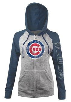 Chicago Cubs Women's Tri-Blend Fleece Zip-Up Hoodie by 5th and Ocean  #ChicagoCubs #Cubs #FlyTheW