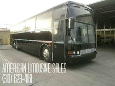 1994 Vanhool Party Bus Black 45 pass. Limo Party Bus #4515 - $79995   Visit our website at: Americanlimousinesales.com