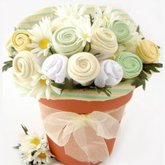 Baby Shower gift idea roll up onesies and burp cloths to look like flowers! www.2Crazywrapmoms.com