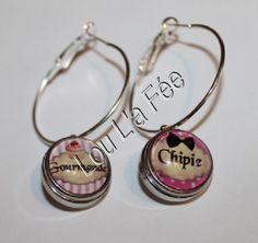 """boucles d'oreilles boutons-pression """"gourmande,chipie"""" 18 mm, grandes créoles 35 mm de diamètre : Boucles d'oreille par lou-l-a-fee-creations-bijoux-bouton-pression"""