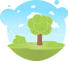 Stock vector of 'Cartoon Landscape With Trees And Clouds, Vector Illustration'