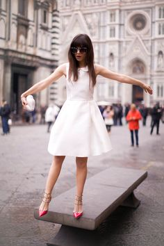 Little white dress and pink Valentino rockstud heels. Perfect.