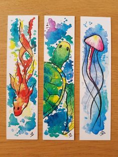 Watercolor Bookmarks, Watercolor Cards, Watercolor Print, Watercolor Paintings, Watercolor Jellyfish, Creative Bookmarks, Diy Bookmarks, Bookmark Craft, Bookmark Ideas