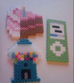 Perler/ Hama beads cake, gimbal machine, and iPod