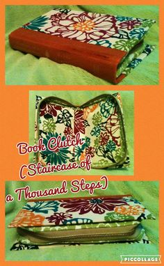 Handcrafted Book Clutch, Orange Spine (Titled: Staircase of a Thousand Steps) With Fun Bright Floral Pattern, Zips Closed To Store All Your Items.