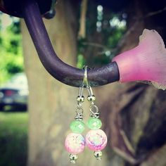 Hey, I found this really awesome Etsy listing at https://www.etsy.com/listing/233214150/green-and-pink-dangle-earrings