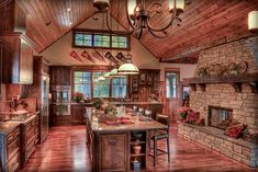 Gorgeous log house kitchen with fireplace