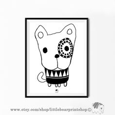 Cute Dog Print in Black&White Size A2 Digital Download 8.68€. Printable artwork is a beautiful, quick and cost effective way of updating your art. Available on Etsy. ❤️🐶 Bear Print, Wall Prints, Cute Dogs, Printable, Etsy Shop, Black And White, Digital, Handmade Gifts, Artwork
