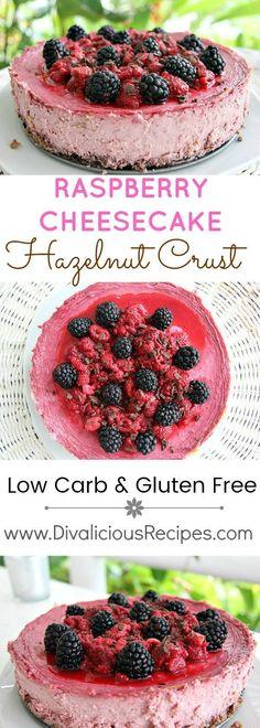 Raspberry Cheesecake hazelnut crust - low carb and gluten free.  Recipe - http://divaliciousrecipes.com/2016/07/08/raspberry-cheesecake-hazelnut-crust/