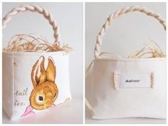 Large Personalized Peter Rabbit Easter Basket - Vintage Beatrix Potter Fabric - Boy Girl - Nursery Decor, Decoration, Party - MOTHER RABBIT