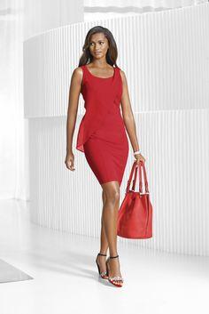 Jerseykleid von ALBA MODA in rot mit modischer Chiffonlage im Vorderteil!