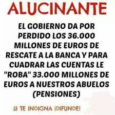Roban a los abuelos para salvar los bancos ¡Difunde! http://viraladvertising.over-blog.com/2016/12/roban-a-los-abuelos-para-salvar-los-bancos-difunde.html?utm_source=_ob_share&utm_medium=_ob_twitter&utm_campaign=_ob_sharebar #pensionistas #pensiones #españa #denuncia #protesta #corrupcion #podemos #gente