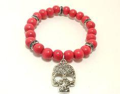 Skull Bracelet Skull Jewelry Red Bead Bracelet by ShamisesBlissful