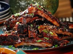 Asian Spice Rubbed Ribs with Pineapple-Ginger BBQ Sauce and Black and White Sesame Seeds Bobby Flay