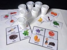 Lotto of smells - Lotto cards and boards to print - school outfits School Age Activities, Spring Activities, Infant Activities, Activities For Kids, Sensory Activities, Physical Activities, Shapes For Kids, Senior Gifts, Montessori Math
