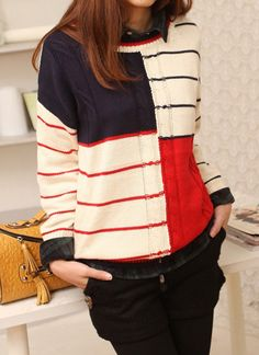 Colorblocked Striped Sweater