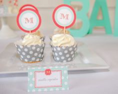 Coral and teal cupcake toppers and menu cards | Monogram Baby Shower Hostess Kit by Undercover Hostess