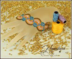 Sherry bracelet , micro macrame and swarovski