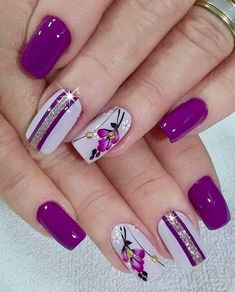 Diy Flower Nail Art Tutorial No Tools Nail Art Design Rose Pearl Purple And Silver Nails, Purple Nail Art, Pretty Nail Art, Purple Glitter, Pastel Nails, Pretty Pastel, Purple Makeup, Best Acrylic Nails, Acrylic Nail Designs