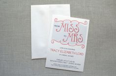 From Miss to Mrs  Bridal Shower Invitation #bridalshower #handlettering