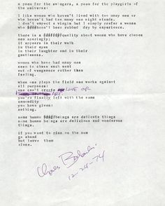 Charles Bukowski manuscript: A Poem for the Swingers, A Poem for the Playgirls of the Universe