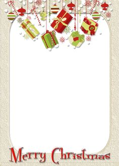 merry christmas frames png   Merry Christmas Cream Photo Frame with Gifts