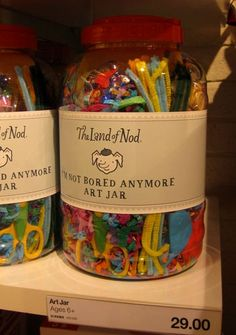 via Young House Love: Heres another idea that we thought might inspire some good old fashioned DIY. A big box, bin, or jar of markers, crayons, pipe-cleaners, stickers, scissors, balloons, and other inexpensive (even dollar-store) items could make a really cool Im not bored anymore present for the kid in your life