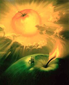 "Vladimir Kush is a Russian artist who creates fantastical works reminiscent  of René Magritte's surrealist style. From his biography on his website, he currently lives on Maui, apparently in view of the Keck Observatory, which he calls the ""umbilical cord"" connecting the oceans and the cosmos.  (from the Boodleheimer Blog)"
