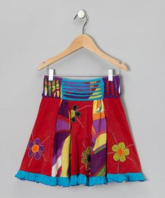 Red & Blue Flower Skirt - Girls #zulily #zulilyfinds
