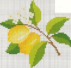my lemon tree Cross Stitch Numbers, Cross Stitch Borders, Cross Stitch Designs, Cross Stitching, Cross Stitch Embroidery, Hand Embroidery, Cross Stitch Patterns, Cross Stitch Fruit, Cross Stitch Kitchen