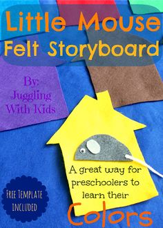 Little Mouse is a fun felt storyboard for preschoolers to learn their colors.  I've included the template in my post so you can easily recreate this for your child(ren).   Jugglingwithkids.com