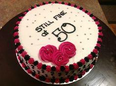 Black, white and pink 50th birthday cake