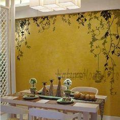Wandtattoo Wanddekoration - vine with birdcage von NatureHomeArts auf DaWanda.com