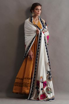 Beautiful textures on a lovely marigold pure silk kalidar. Paired with pure pashmina shawl carefully embroidered in pure silk thread. Comes with silk pants. Dress Indian Style, Indian Dresses, Pakistani Outfits, Indian Outfits, Indian Clothes, Indian Attire, Indian Wear, Casual Dresses, Fashion Dresses