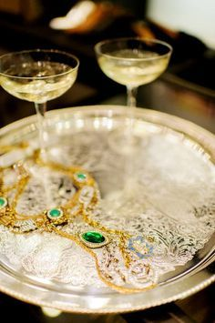 Trays of champagne and jewels