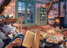 Ravensburger Cozy Retreat 500 Piece Large Format Jigsaw Puzzle for Adults - Every Piece is Unique, Softclick Technology Means Pieces Fit Together Perfectly Diy Painting, Painting Frames, Visualisation, Mosaic Wall Art, Step By Step Painting, Wall Art Pictures, Large Format, Beautiful Artwork, Beautiful Images
