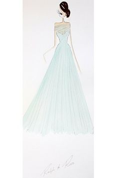 """Harrods - """"A dream come true, this mint evening gown with a sweetheart neckline and mesh overlay, features scattered crystals that cascade into a layered tulle skirt."""""""