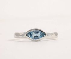 Santa Maria Aquamarine band ring Sterling silver bezel set
