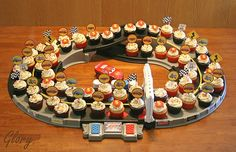 Cool way to display cupcakes for a car birthday theme!